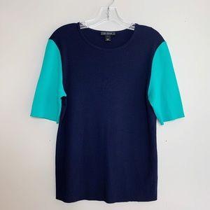 St. John | Color Block 3/4 Sleeve Sweater Large